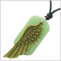 Amulet Guardian Angel Wing Magical Protection Powers Green Quartz Tag Pendant Adjustable Necklace