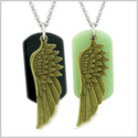 Guardian Angel Wings Protection Magic Powers Love Couple or Best Friends Set Agate Green Quartz Necklaces