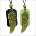 Guardian Angel Wings Protect Powers Love Couples Best Friends Set Green Quartz Agate Adjustable Necklaces