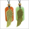 Guardian Angel Wings Protect Powers Love Couple Best Friends Set Green Quartz Jasper Adjustable Necklaces