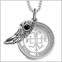 "Archangel Gabriel Sigil Amulet Magic Powers Angel Wing Charm Simulated Black Onyx Pendant 18"" Necklace"