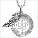 "Archangel Gabriel Sigil Amulet Magic Powers Angel Wing Charm Green Quartz Pendant 18"" Necklace"