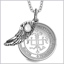 "Archangel Gabriel Sigil Amulet Magic Powers Angel Wing Charm White Cats Eye Pendant 18"" Necklace"