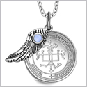 "Archangel Gabriel Sigil Amulet Magic Powers Angel Wing Charm Sky Blue Cats Eye Pendant 18"" Necklace"