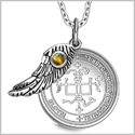 "Archangel Gabriel Sigil Amulet Magic Powers Angel Wing Charm Tiger Eye Pendant 18"" Necklace"