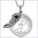 "Archangel Michael Sigil Amulet Magic Powers Angel Wing Charm Simulated Black Onyx Pendant 18"" Necklace"