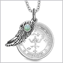 "Archangel Michael Sigil Amulet Magic Powers Angel Wing Charm Green Quartz Pendant 18"" Necklace"