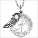"Archangel Michael Sigil Amulet Magic Powers Angel Wing Charm White Cats Eye Pendant 18"" Necklace"
