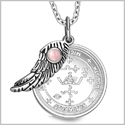 "Archangel Michael Sigil Amulet Magic Powers Angel Wing Charm Pink Cats Eye Pendant 18"" Necklace"