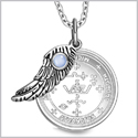 "Archangel Michael Sigil Amulet Magic Powers Angel Wing Charm Sky Blue Cats Eye Pendant 18"" Necklace"