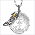 "Archangel Michael Sigil Amulet Magic Powers Angel Wing Charm Tiger Eye Pendant 18"" Necklace"