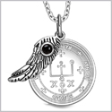 "Archangel Raphael Sigil Amulet Magic Powers Angel Wing Charm Simulated Black Onyx Pendant 18"" Necklace"