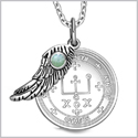 "Archangel Raphael Sigil Amulet Magic Powers Angel Wing Charm Green Quartz Pendant 18"" Necklace"