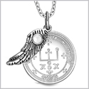 "Archangel Raphael Sigil Amulet Magic Powers Angel Wing Charm White Cats Eye Pendant 18"" Necklace"