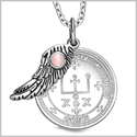 "Archangel Raphael Sigil Amulet Magic Powers Angel Wing Charm Pink Cats Eye Pendant 18"" Necklace"