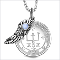 "Archangel Raphael Sigil Amulet Magic Powers Angel Wing Charm Sky Blue Cats Eye Pendant 18"" Necklace"