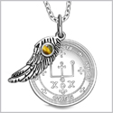 "Archangel Raphael Sigil Amulet Magic Powers Angel Wing Charm Tiger Eye Pendant 18"" Necklace"