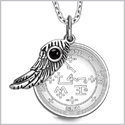 "Archangel Samael Sigil Amulet Magic Powers Angel Wing Charm Simulated Black Onyx Pendant 18"" Necklace"
