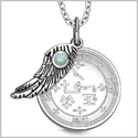 "Archangel Samael Sigil Amulet Magic Powers Angel Wing Charm Green Quartz Pendant 18"" Necklace"