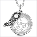 "Archangel Samael Sigil Amulet Magic Powers Angel Wing Charm White Cats Eye Pendant 18"" Necklace"