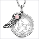 "Archangel Samael Sigil Amulet Magic Powers Angel Wing Charm Pink Cats Eye Pendant 18"" Necklace"