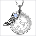 "Archangel Samael Sigil Amulet Magic Powers Angel Wing Charm Sky Blue Cats Eye Pendant 18"" Necklace"