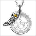 "Archangel Samael Sigil Amulet Magic Powers Angel Wing Charm Tiger Eye Pendant 18"" Necklace"