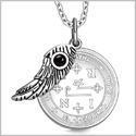 "Archangel Thavael Sigil Amulet Magic Powers Angel Wing Charm Simulated Black Onyx Pendant 18"" Necklace"