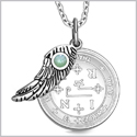 "Archangel Thavael Sigil Amulet Magic Powers Angel Wing Charm Green Quartz Pendant 18"" Necklace"