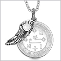 "Archangel Thavael Sigil Amulet Magic Powers Angel Wing Charm White Cats Eye Pendant 18"" Necklace"