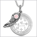 "Archangel Thavael Sigil Amulet Magic Powers Angel Wing Charm Pink Cats Eye Pendant 18"" Necklace"