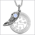 "Archangel Thavael Sigil Amulet Magic Powers Angel Wing Charm Sky Blue Cats Eye Pendant 18"" Necklace"