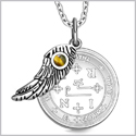 "Archangel Thavael Sigil Amulet Magic Powers Angel Wing Charm Tiger Eye Pendant 18"" Necklace"