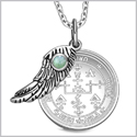 "Archangel Uriel Sigil Amulet Magic Powers Angel Wing Charm Green Quartz Pendant 18"" Necklace"