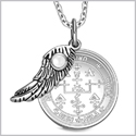 "Archangel Uriel Sigil Amulet Magic Powers Angel Wing Charm White Cats Eye Pendant 18"" Necklace"