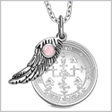 "Archangel Uriel Sigil Amulet Magic Powers Angel Wing Charm Pink Cats Eye Pendant 18"" Necklace"