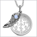 "Archangel Uriel Sigil Amulet Magic Powers Angel Wing Charm Sky Blue Cats Eye Pendant 18"" Necklace"