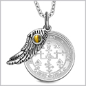 "Archangel Uriel Sigil Amulet Magic Powers Angel Wing Charm Tiger Eye Pendant 18"" Necklace"