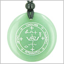 Sigil of the Archangel Michael Magical Amulet Green Aventurine Magic Gemstone Circle Spiritual Powers Pendant Necklace