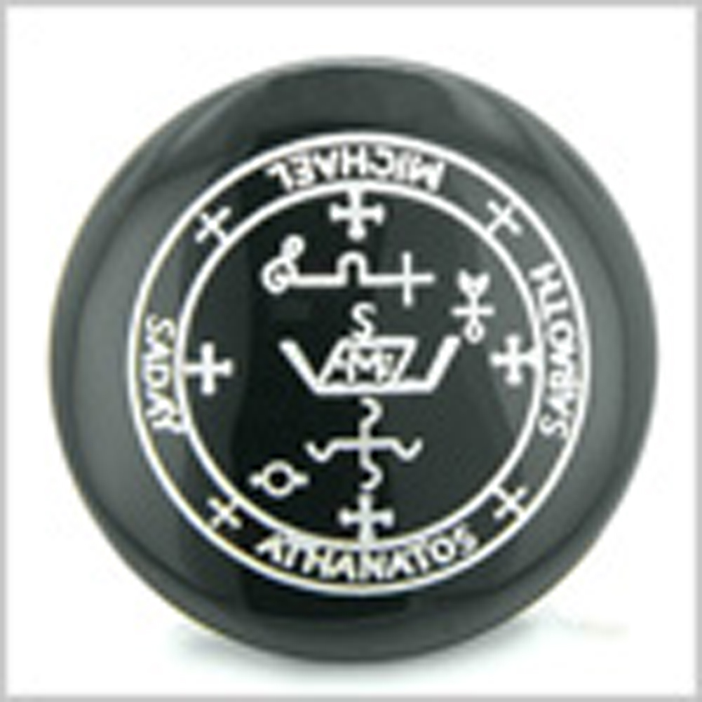 Sigil of the Archangel Michael Magical Amulet Black Onyx Magic Gemstone Circle Spiritual Powers Keepsake Individual Totem