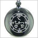 Sigil of the Archangel Samael Magical Amulet Amulet Black Onyx Magic Gemstone Circle Spiritual Powers Pendant Necklace