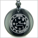 Sigil of the Archangel Thavael Magical Amulet Amulet Black Onyx Magic Gemstone Circle Spiritual Powers Pendant Necklace