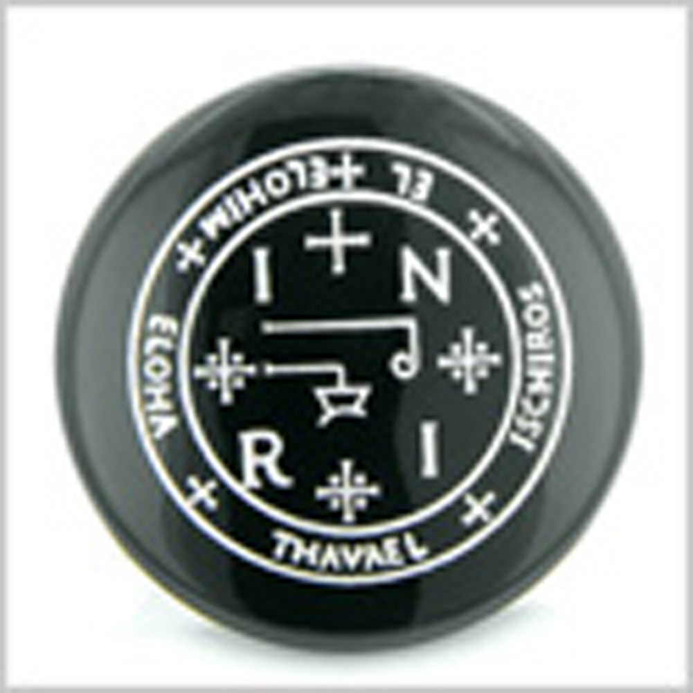 Sigil of the Archangel Thavael Magical Amulet Amulet Black Onyx Magic Gemstone Circle Spiritual Powers Keepsake Individual Totem