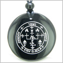 Sigil of the Archangel Uriel Magical Amulet Amulet Black Onyx Magic Gemstone Circle Spiritual Powers Pendant Necklace