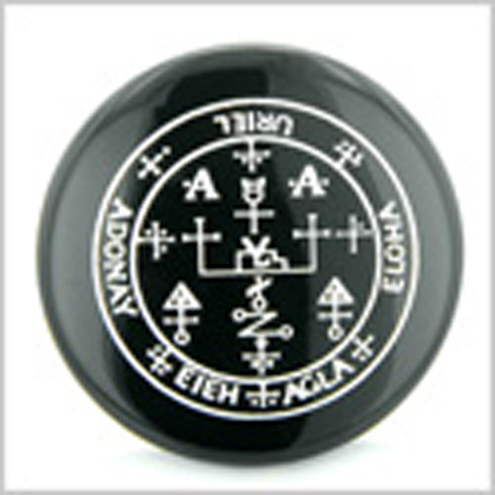 Sigil of the Archangel Uriel Magical Amulet Amulet Black Onyx Magic Gemstone Circle Spiritual Powers Keepsake Individual Totem