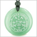 Sigil of the Archangel Zadkiel Magical Amulet Amulet Green Aventurine Magic Gemstone Circle Spiritual Powers Pendant Necklace