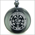 Sigil of the Archangel Zadkiel Magical Amulet Amulet Black Onyx Magic Gemstone Circle Spiritual Powers Pendant Necklace
