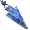 Arrowhead Magic Amulet Lapis Lazuli Gemstone Safety Protection Powers Crystal Point Lucky Charm Pendant Necklace