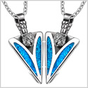 Arrowhead Wild Grizzly Bear Head Love Couples BFF Set Protection Amulets Simulated Turquoise Necklaces