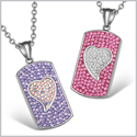 Magic Hearts Austrian Crystal Love Couples Best Friends Dog Tag Purple Fuscia Pink Rainbow White Necklaces